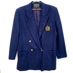 Vintage Express Navy Wool Crest Blazer